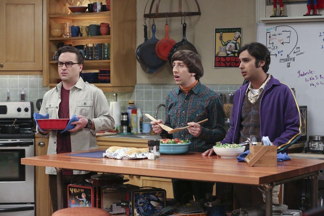 Leonard (Johnny Galecki, l.), Howard (Simon Helberg, M.) und Raj (Kunal Nayyar, r.) planen einen Trip nach Las Vegas, zu dem Sheldon nicht eingelade... - Bildquelle: 2015 Warner Brothers