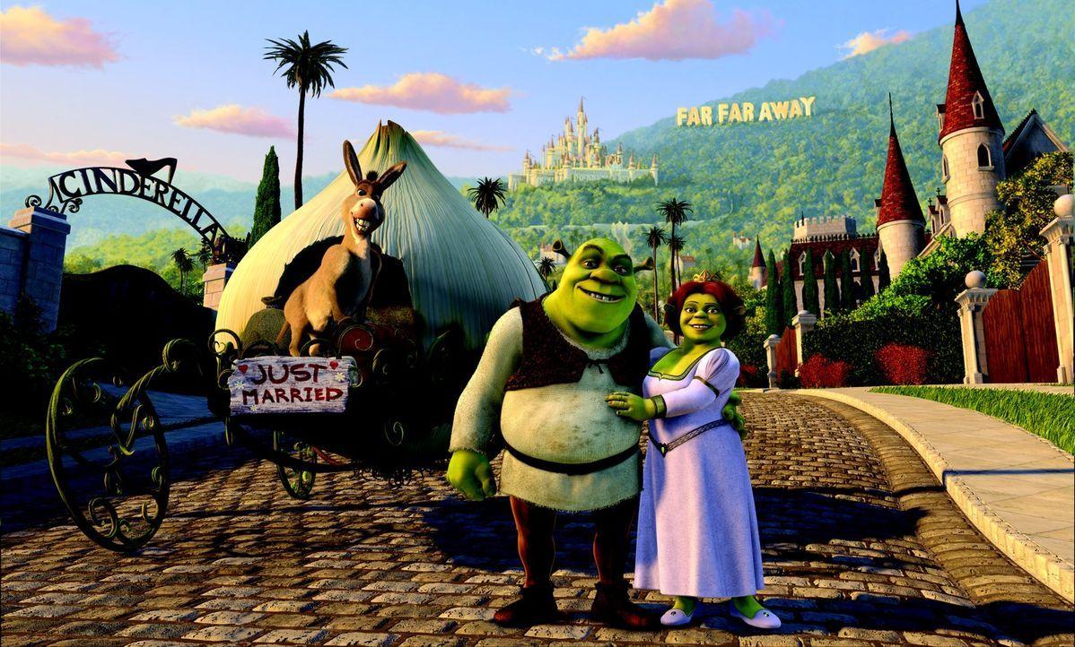 """Frisch verheiratet machen sich Shrek, l. und Fiona, r. auf, die königlichen Schwiegereltern im fernen Königreich """"Far Far Away"""" zu besuchen. Keine b... - Bildquelle: DreamWorks SKG"""