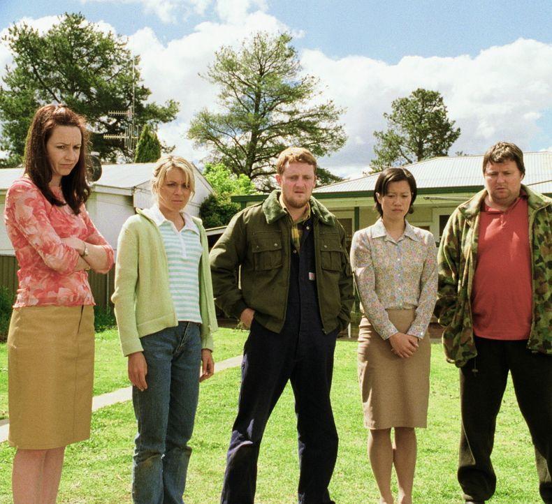 Darlene (Sallyanne Ryan, l.) Cheryl (Belinda Emmett, 2.v.l.), Wookie (Stephen Curry, M.), Moon Choo (Karen Pang, 2.v.r.) und Sue (Dave O'Neil, r.) h... - Bildquelle: Overseas FilmGroup