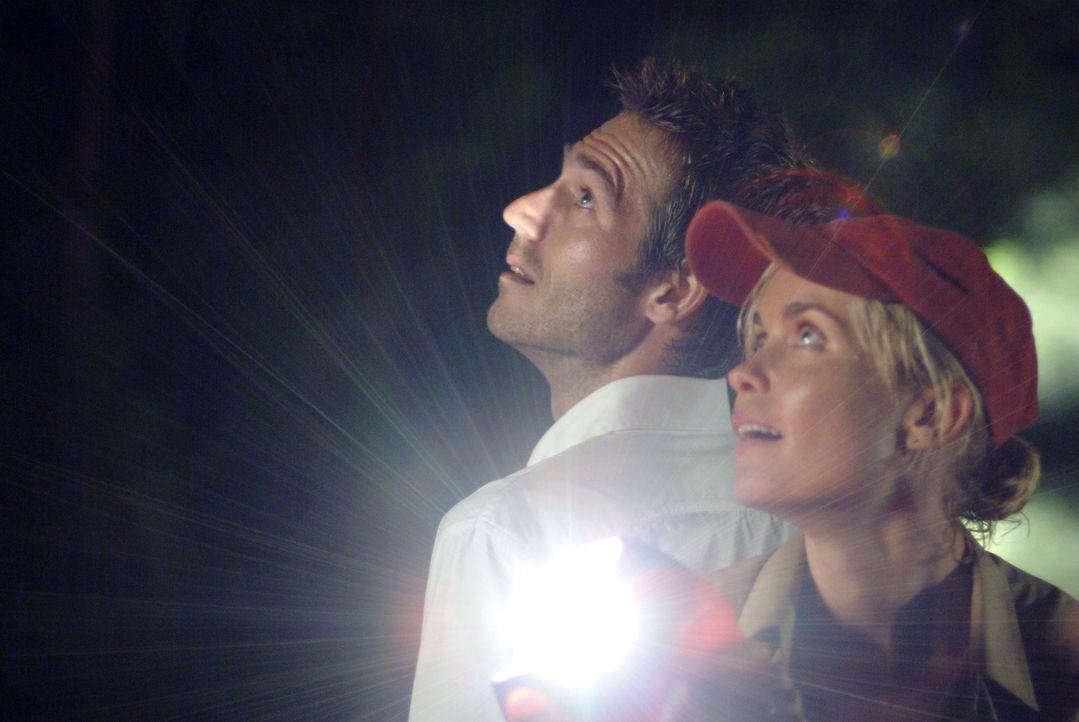 Der Bootsführerin Kate (Radha Mitchell, r.), dem Abenteurer Pete (Michael Vartan, l.) und den anderen Passagieren gelingt es zwar, sich auf eine Ins...