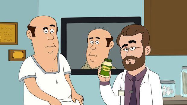 Um endlich keine Glatze mehr zu haben, schluckt Steve (l.) die ganze Flasche...