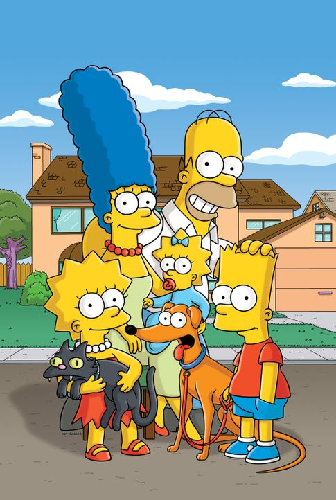 (27. Staffel) - Eine fast ganz normale Familie: Lisa (l.), Marge (2.v.l.), Maggie (M.), Homer (2.v.r.) und Bart (r.) ... - Bildquelle: 2015 Fox and its related entities.  All rights reserved.