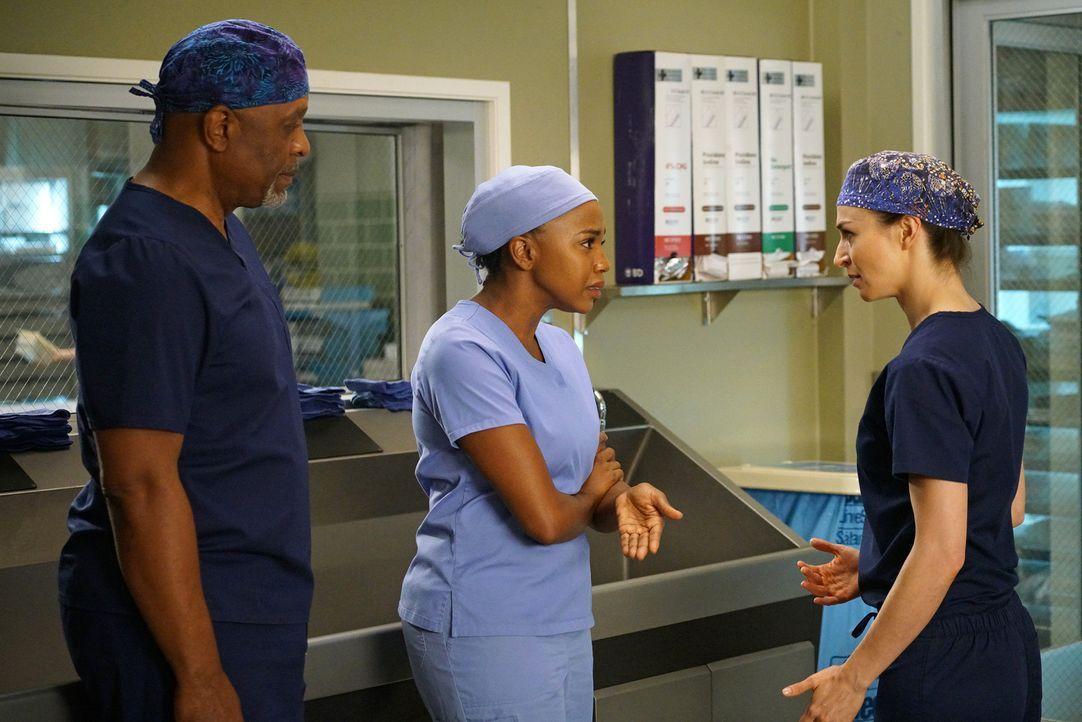 Webber (James Pickens Jr., l.) muss eine Auseinandersetzung zwischen Stephanie (Jerrika Hinton, M.) und Amelia (Caterina Scorsone, r.) klären, währe... - Bildquelle: Adam Taylor ABC Studios