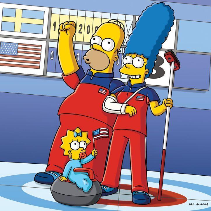 Haben die Sportart Curling für sich entdeckt: Homer (l.), Marge (r.) und Maggie (M.) ... - Bildquelle: und TM Twentieth Century Fox Film Corporation - Alle Rechte vorbehalten
