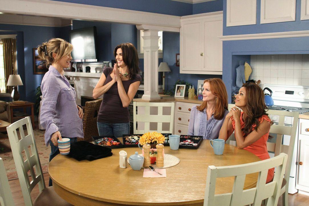 Können nicht fassen, dass Paul Young wieder zurück in der Wisteria Lane ist: Lynette (Felicity Huffman, l.), Bree (Marcia Cross, 2.v.r.), Gabrielle... - Bildquelle: ABC Studios