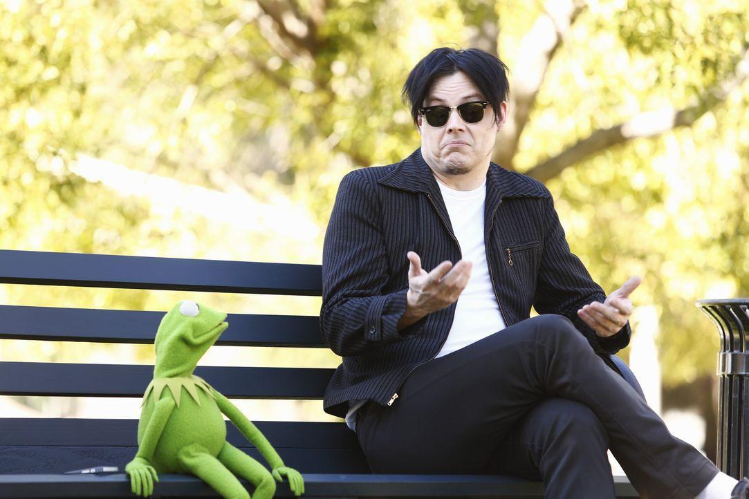 Kermit (l.) ist immer noch in Muss Piggy verliebt, weiß aber nicht, was er tun soll und bittet deshalb Jack White (r.) um Rat ... - Bildquelle: Nicole Wilder ABC Studios