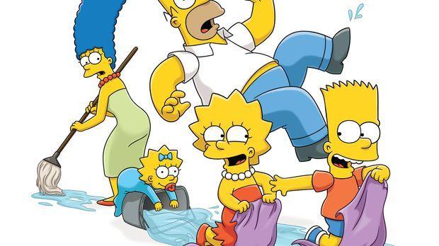 (24. Staffel) - Eine etwas andere Familie: Maggie (2.v.l.), Marge (l.), Homer...