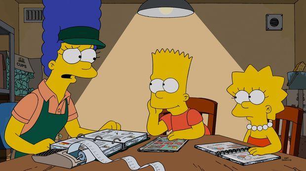 Hat Marge (l.) mit ihrem Sandwichladen Erfolg? Bart (M.) und Lisa (r.) helfen...