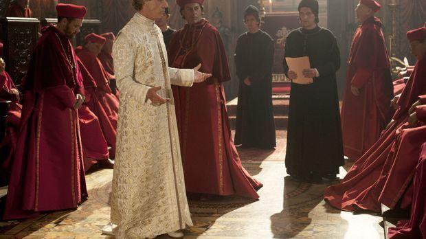 Papst Alexander (Jeremy Irons, 2.v.l) beauftragt Kardinal Sforza (Peter Sulli...