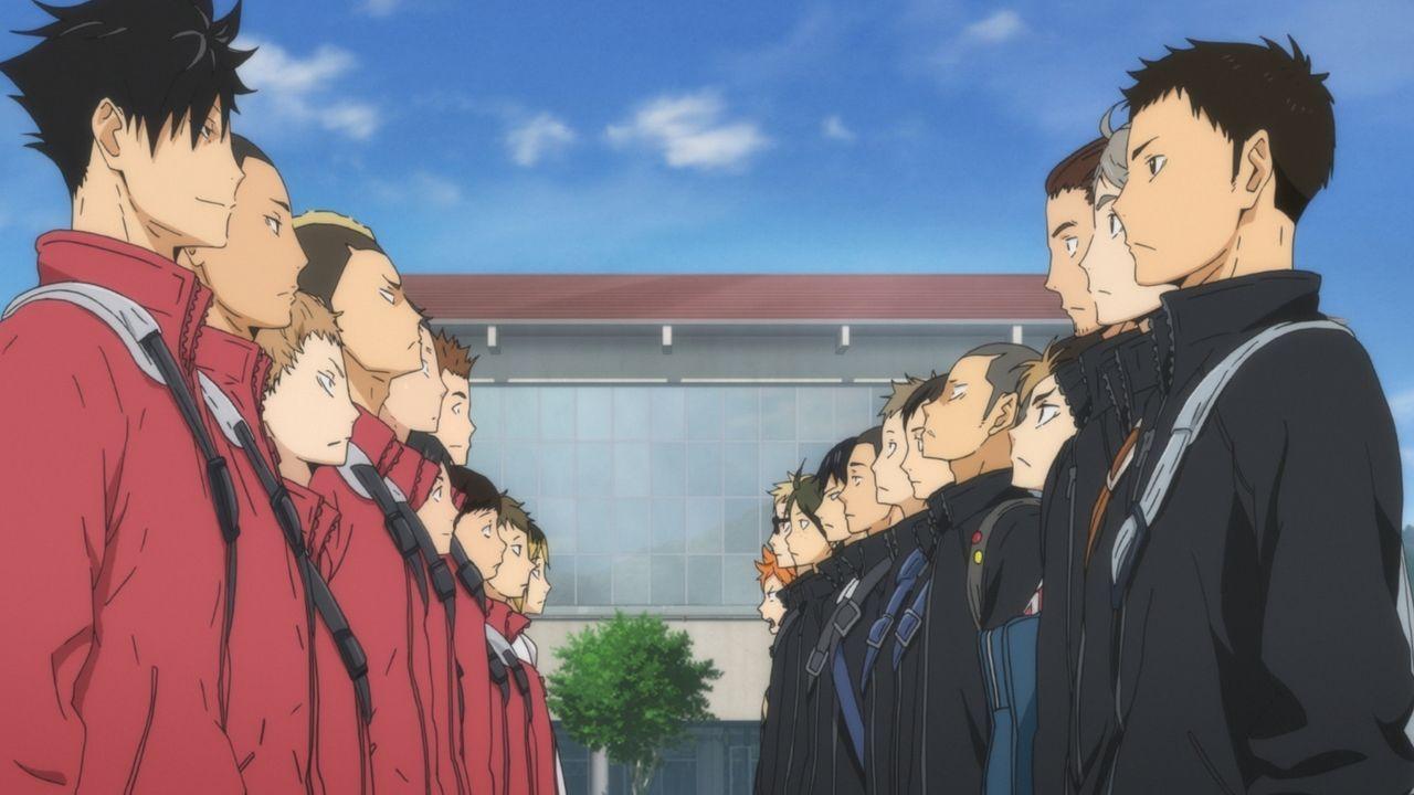 """(v.l.n.r.) Tetsuro Kuroo; Nobuyuki Kai; Morisuke Yaku; Taketora Yamamoto; Yuki Shibayama; So Inuoka; Sh?hei Fukunaga; Lev Haiba; Kenma Kozume; Shoyo... - Bildquelle: H.Furudate / Shueisha,""""Haikyu!!?Project,MBS"""
