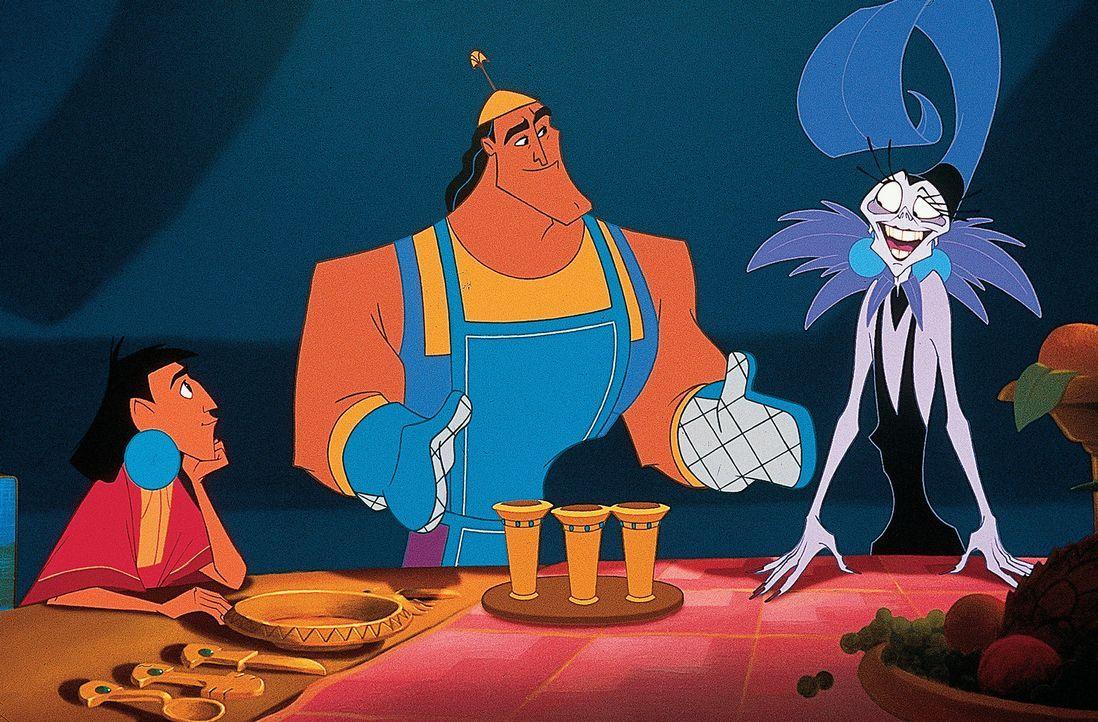 König Kuzco (l.) ahnt nicht, was seine hinterlistige Beraterin (r.) vorhat. Diese hat ihre Rechnung jedoch ohne ihren tollpatschigen Assistenten Kr... - Bildquelle: Disney Enterprises Inc.