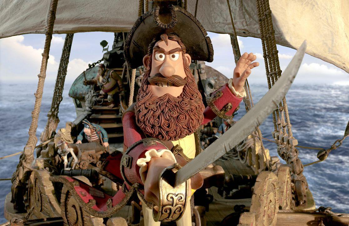 """Obwohl der Piratenkapitän nicht wirklich erfolgreich ist als """"Schrecken der Weltmeere"""", verfolgt er seinen Traum - nämlich seine beiden Rivalen aus... - Bildquelle: 2012 Sony Pictures Animation Inc. All Rights Reserved."""