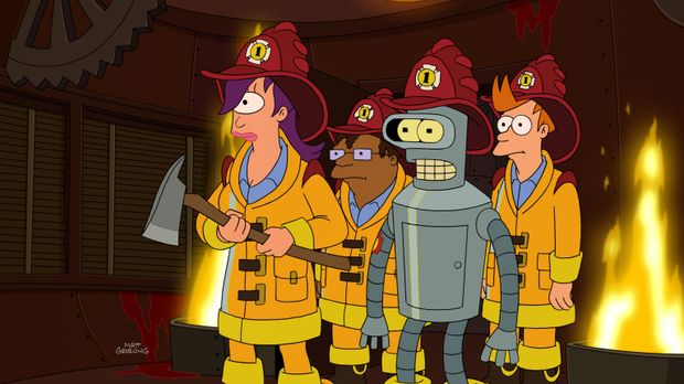 Sind auf einer ganz besonderen Mission: Leela (l.), Bender (2.v.r.), Fry (r.)...