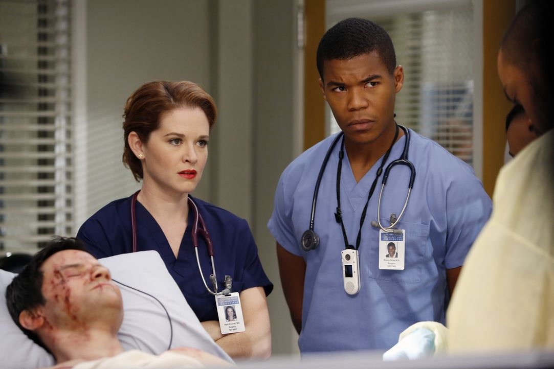 Kümmern sich gemeinsam mit Jackson um Stuart Loeb (Richard Kahan, l.), der bei einem Verkehrsunfall schwer verletzt wurde: April (Sarah Drew, M.) un... - Bildquelle: ABC Studios