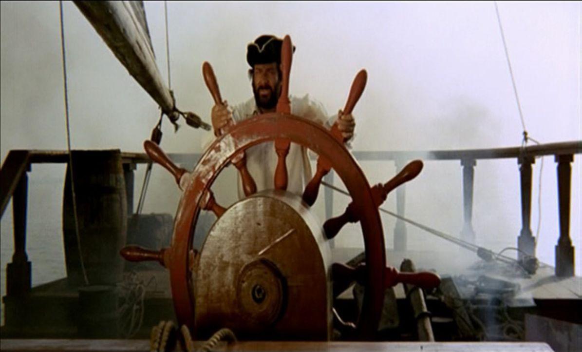 Auf dem Schiff des spanischen Königs soll sich ein riesiger Goldschatz befinden. Der mit allen Wassern gewaschene Pirat Scull (Bud Spencer) lauert a... - Bildquelle: ACB Cinematografica und Capricornio Transcontinental Pictures