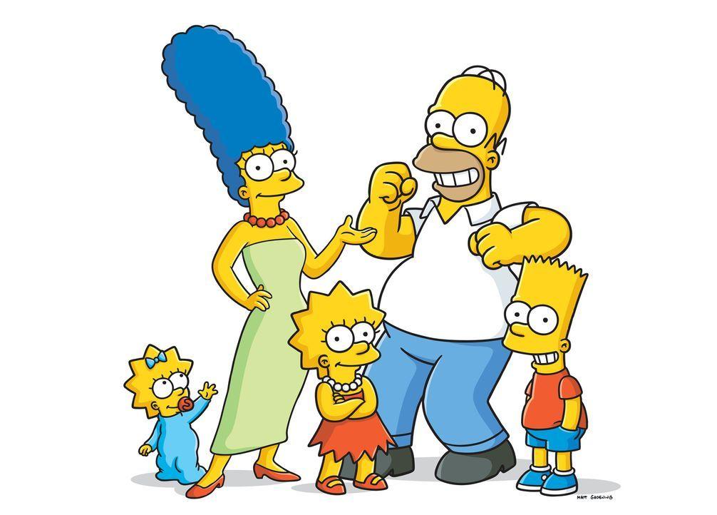 (27. Staffel) - Eine Familie mit ganz besonderem Pfiff: Maggie (l.), Marge (2.v.l.), Homer (2.v.r.), Bart (r.) und Lisa Simpson (M.) ... - Bildquelle: 2015 Fox and its related entities.  All rights reserved.