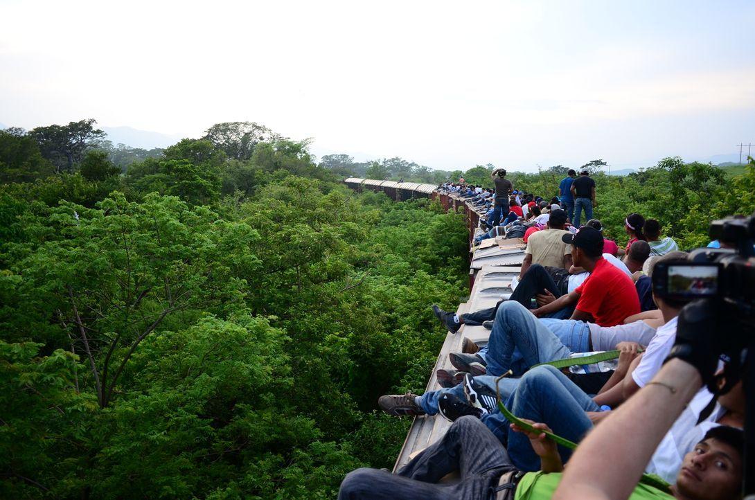 Der Migranten-Pfad von San Pedro Sula in Honduras in die USA führt tausende verzweifelte Auswanderer auf dem Dach eines Güterzuges durch Mexiko an d... - Bildquelle: Freshwater Films Ltd 2015