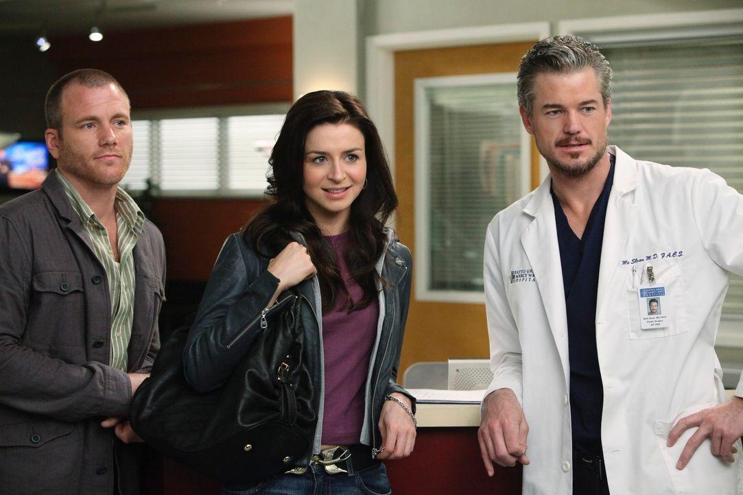 Mark (Eric Dane, r.) ist etwas verwirrt, als er erfährt, dass Amelia (Caterina Scorsone, M.) ihrem Bruder Derek als Friedensangebot den Gehirntumorp... - Bildquelle: ABC Studios