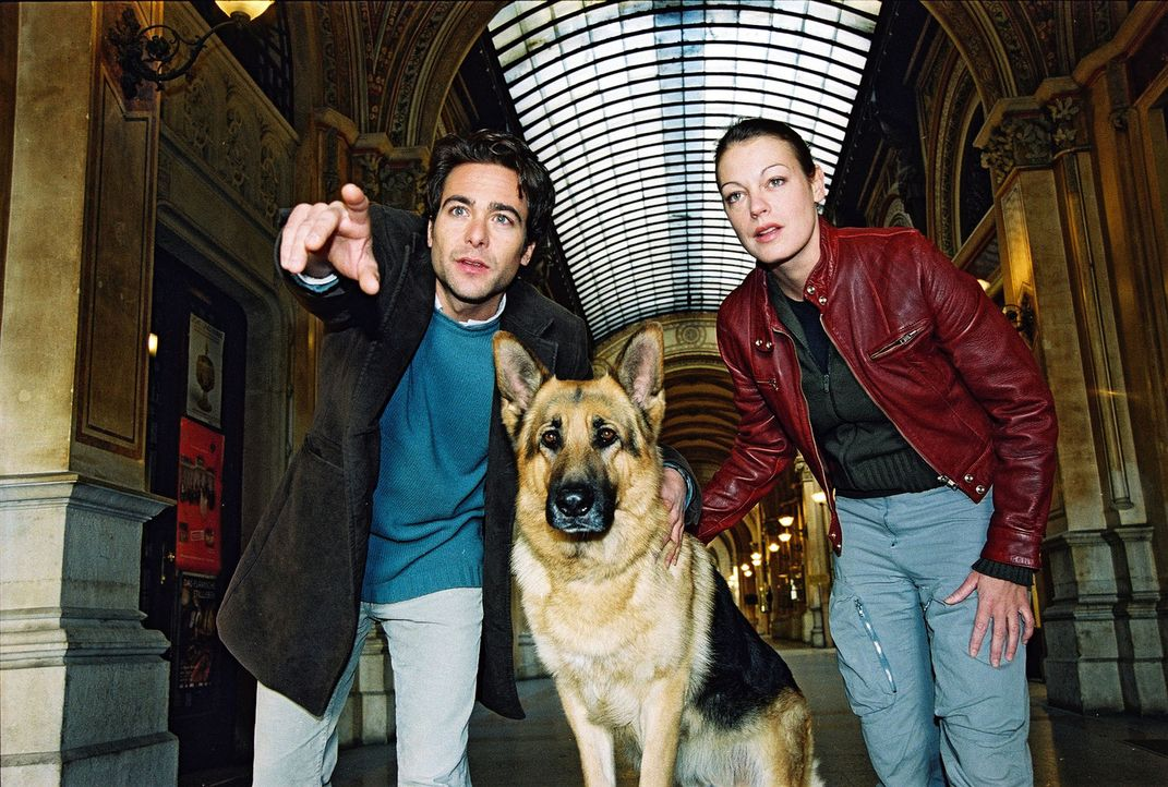 Marc (Alexander Pschill, l.), Rex und Niki (Elke Winkens, r.) am Tatort. - Bildquelle: Ali Schafler Sat.1