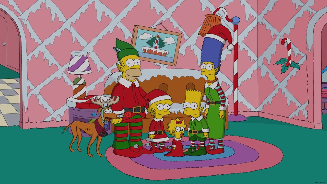 Die Simpsons, von Kopf bis Fuß auf Weihnachten eingestellt: Hund Knecht Ruprecht (l.), Homer (2.v.l.), Lisa (3.v.l.), Maggie (3.v.r.), Bart (2.v.r.)... - Bildquelle: 2013 Twentieth Century Fox Film Corporation. All rights reserved.