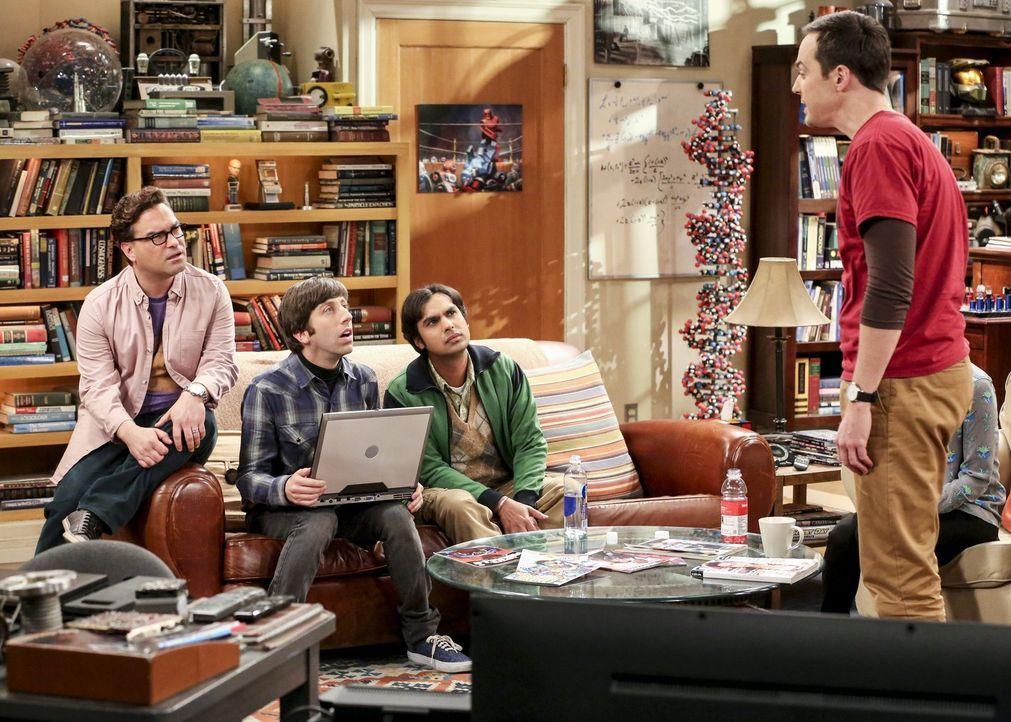 Noch ahnen (v.l.n.r.) Leonard (Johnny Galecki), Howard (Simon Helberg) und Raj (Kunal Nayyar) nicht, dass Sheldon (Jim Parsons) sie alle um viel Gel... - Bildquelle: Warner Bros. Television