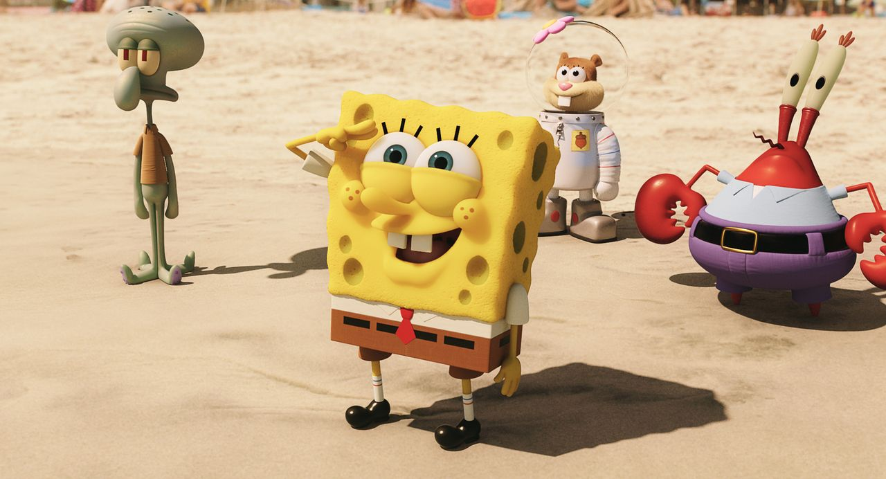Beeindruckt von der Welt jenseits des Ozeans: (v.l.n.r.) Thaddäus, Spongebob, Sandy Cheeks und Mr. Krabs ... - Bildquelle: (2016) Paramount Pictures and Viacom International Inc. All Rights Reserved. SPONGEBOB SQUAREPANTS is the trademark of Viacom International Inc.