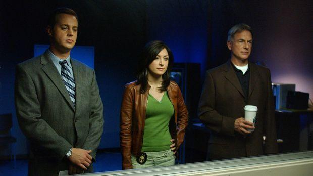 Gibbs (Mark Harmon, r.), McGee (Sean Murray, l.) und Kate (Sasha Alexander, M...