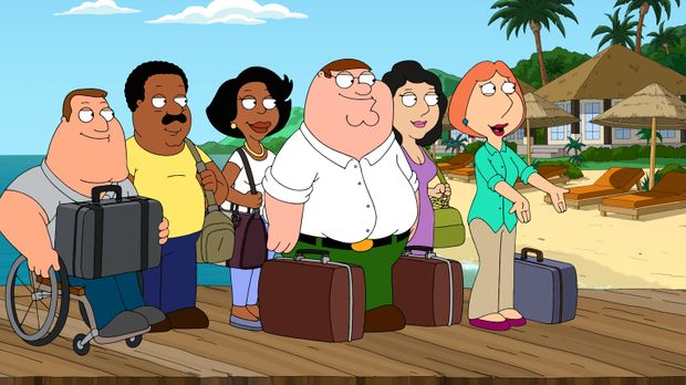 Freuen sich auf den tropischen Urlaub, den Lois (r.) gewonnen hat: (v.l.n.r.)...