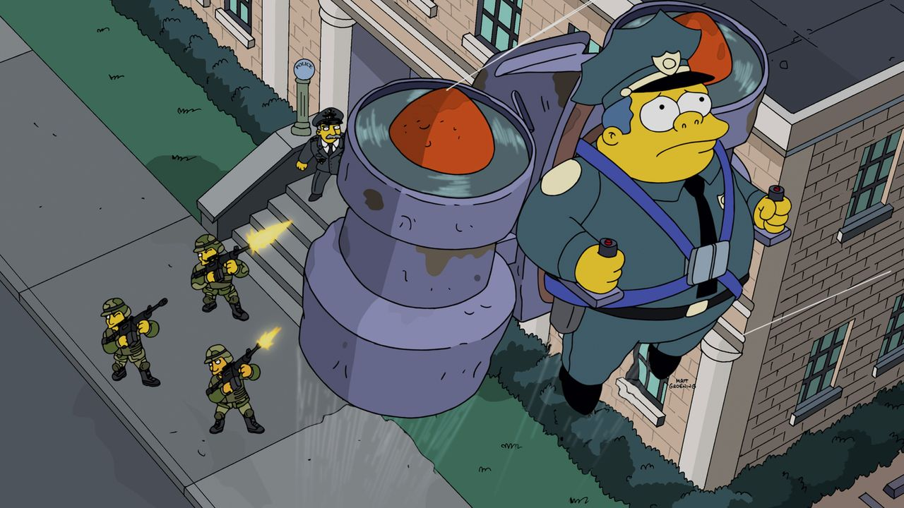 Ein Fehler bei der Post lässt Wiggum ein Jetpack zukommen. Doch seine Aktivität als Himmelspolizist nimmt ein jähes Ende ... - Bildquelle: 2014 Twentieth Century Fox Film Corporation. All rights reserved.