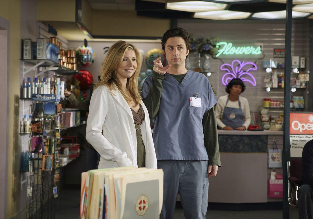 Weil Elliott (Sarah Chalke, l.) plötzlich so viel Zeit mit ihrer Freundin Melody verbringt, fühlt sich J.D. (Zach Braff, r.) vernachlässigt und stif... - Bildquelle: Touchstone Television