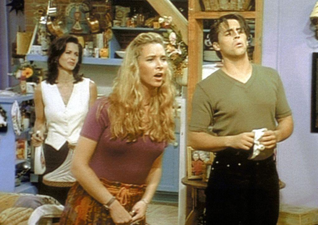 Monica (Courteney Cox, l.), Phoebe (Lisa Kudrow, M.) und Joey (Matt LeBlanc, r.) beobachten einen nackten Nachbarn auf seinem Balkon. - Bildquelle: TM+  2000 WARNER BROS.