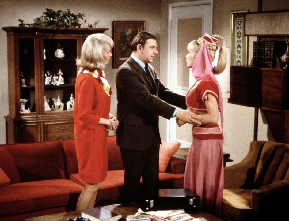 Amanda (Emmaline Henry, l.) hat den Scheidungsanwalt Murdock (Woodrow Parfrey, M.) bestellt, um Jeannie (Barbara Eden, r.) aus ihrem vermeintlichen... - Bildquelle: Columbia Pictures