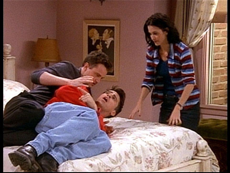 Joey (Matt LeBlanc, M.) will nicht einsehen, weshalb er die Affäre von Monica (Courteney Cox, r.) und Chandler (Matthew Perry, l.) geheimhalten soll. - Bildquelle: TM+  2000 WARNER BROS.