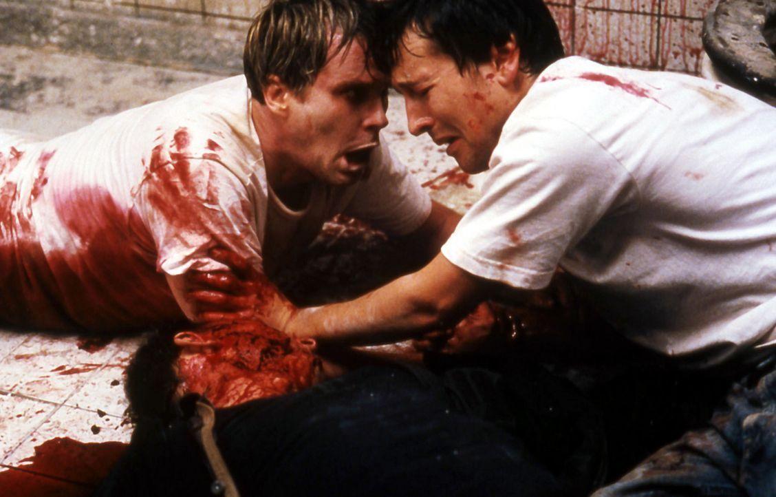 Eines Tages finden sich Dr. Lawrence Gordon (Cary Elwes, l.) und Adam (Leigh Whannell, r.) angekettet an Rohre in einem alten, verfallenen Badezimme... - Bildquelle: Twisted Pictures