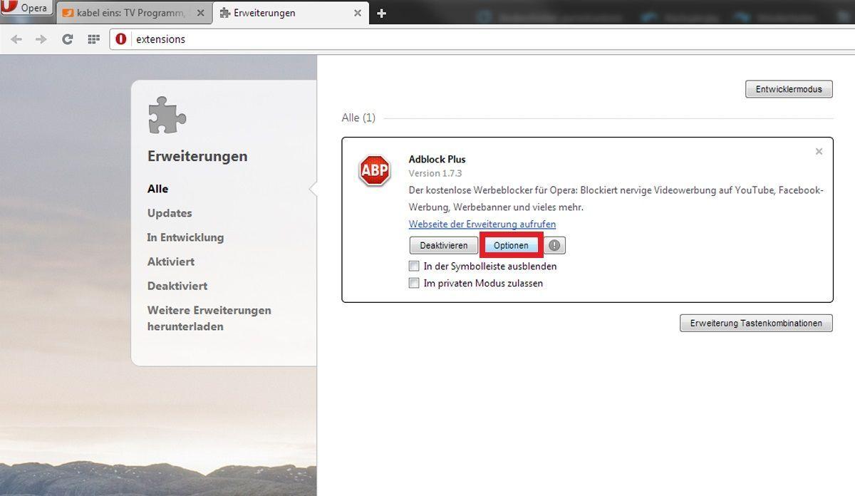 Opera: AdBlocker für bestimmte Seite deaktivieren 1