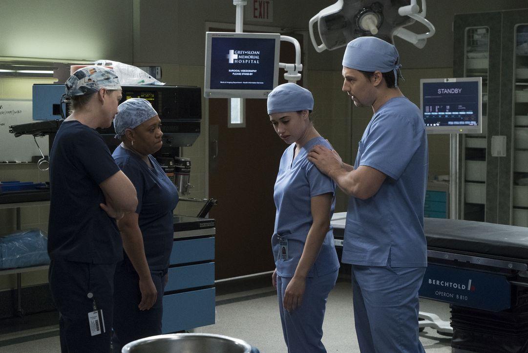 Meredith (Ellen Pompeo, l.) und Miranda (Chandra Wilson, 2.v.l.) versuchen, Sam (Jeanine Mason, 2.v.r.) zu helfen, als ein Agent im Krankenhaus auft... - Bildquelle: Richard Cartwright 2017 American Broadcasting Companies, Inc. All rights reserved./Richard Cartwright