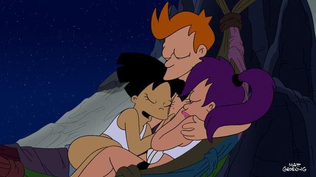 Futurama - Amy (l.), Fry und Leela (r.) sind auf einem Planeten abgestürzt, a...