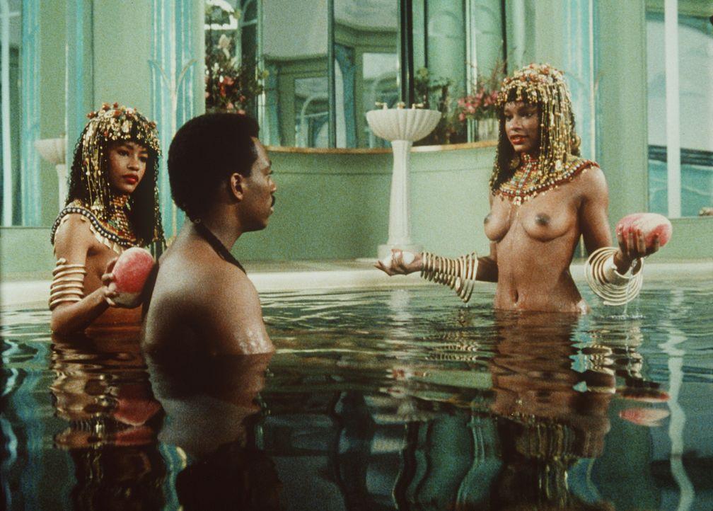 Prinz Akeem (Eddie Murphy, M.) lässt sich von seinen Zofen verwöhnen. Bald wird er 21 Jahre alt und soll nach dem Willen seiner Eltern verheiratet... - Bildquelle: Paramount Pictures