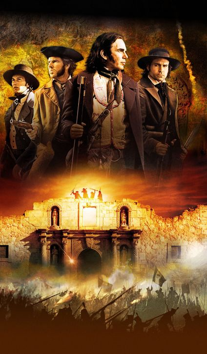 The Alamo - eine kleine Mission mitten in Texas: James Bowie (Jason Patric, r.), William Travis (Patrick Wilson , l.), Sam Houston (Dennis Quaid, 2.... - Bildquelle: Disney - ABC International Television