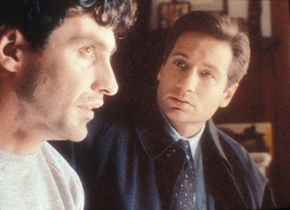 Der Wissenschaftler Alonso Bilac (Vic Trevino) erzählt Mulder (David Duchovny, r.), dass er immer dagegen war, dass die Amaru-Urne aus Ecuador in di... - Bildquelle: TM +   2000 Twentieth Century Fox Film Corporation. All Rights Reserved.