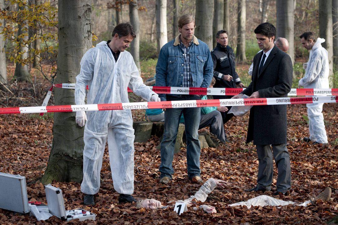 In einem Waldstück wird die Leiche von Silke Hansen gefunden. Schon bald finden Mick (Henning Baum, M.), Andreas (Maximilian Grill, r.) und Meisner... - Bildquelle: SAT.1