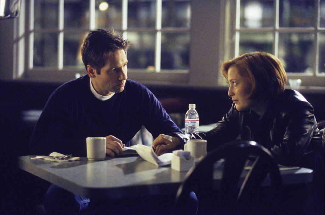 Scully (Gillian Anderson, r.) erzählt Mulder (David Duchovny, l.) von den rätselhaften Hinweisen, die sie im Haus seiner Mutter entdeckt hat. - Bildquelle: 1999-2000 Twentieth Century Fox Film Corporation