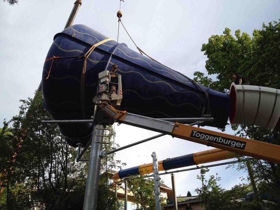 Abgefahren und total verrückt!  King Cone - Europas neuste Mega-Trichterrutsche:  Im Alpa Mare in der Nähe von Zürich entsteht eine neue Mega-Tri... - Bildquelle: kabel eins
