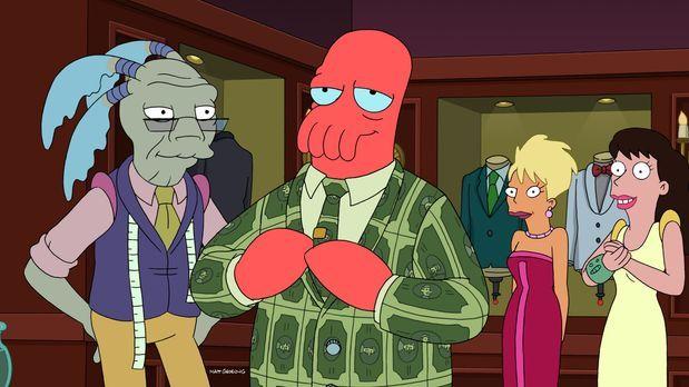 Futurama - Zoidberg (2.v.l.) hat in einem Müllcontainer acht Millionen Dollar...