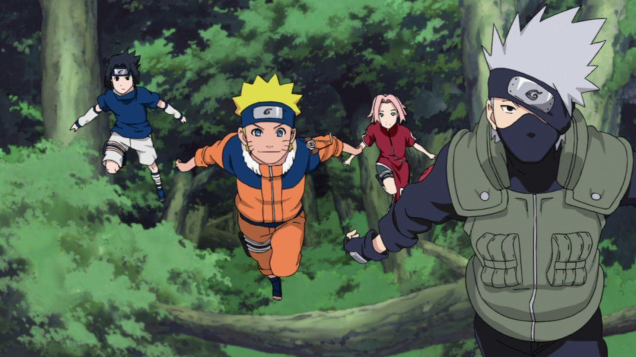 (v.l.n.r.) Itachi Uchiha; Naruto Uzumaki; Sakura Haruno; Rokudaime Hokage - Bildquelle: 2002 MASASHI KISHIMOTO / 2007 SHIPPUDEN