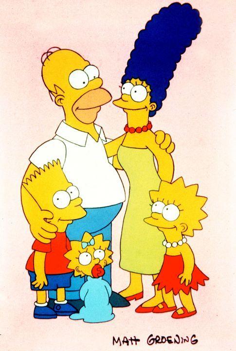 (1. Staffel) - Trotz mancher Auseinandersetzung halten die Simpsons immer fest zusammen: (v.l.n.r.) Bart, Homer, Maggie, Marge und Lisa. - Bildquelle: und TM Twentieth Century Fox Film Corporation - Alle Rechte vorbehalten