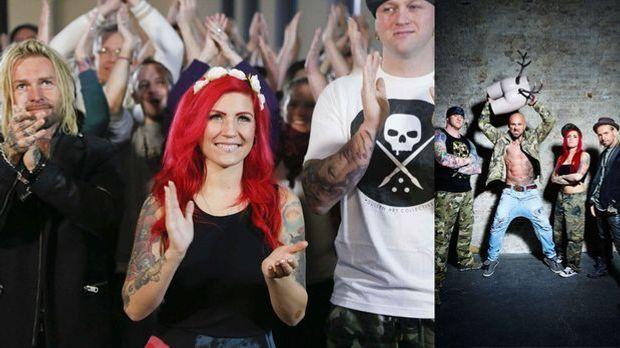 Drei glückliche Gewinner haben in Folge 1 von Horror Tattoos ein Cover Up bek...