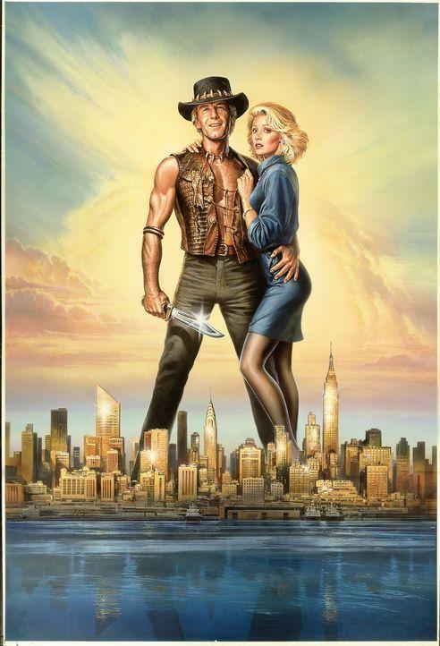 Mick Dundee (Pual Hogan, l.) ist aus Liebe zur schönen Journalistin Sue (Linda Kozlowski, r.) in New York geblieben. Doch langsam aber sicher begin... - Bildquelle: Paramount Pictures