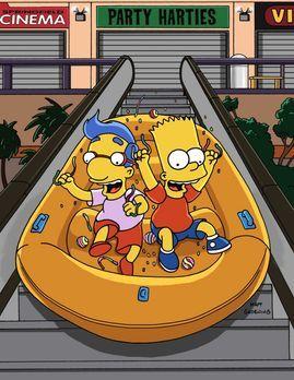 Die Simpsons - Bart (r.) und Milhouse (l.) stellen nachts das Einkaufszentrum...