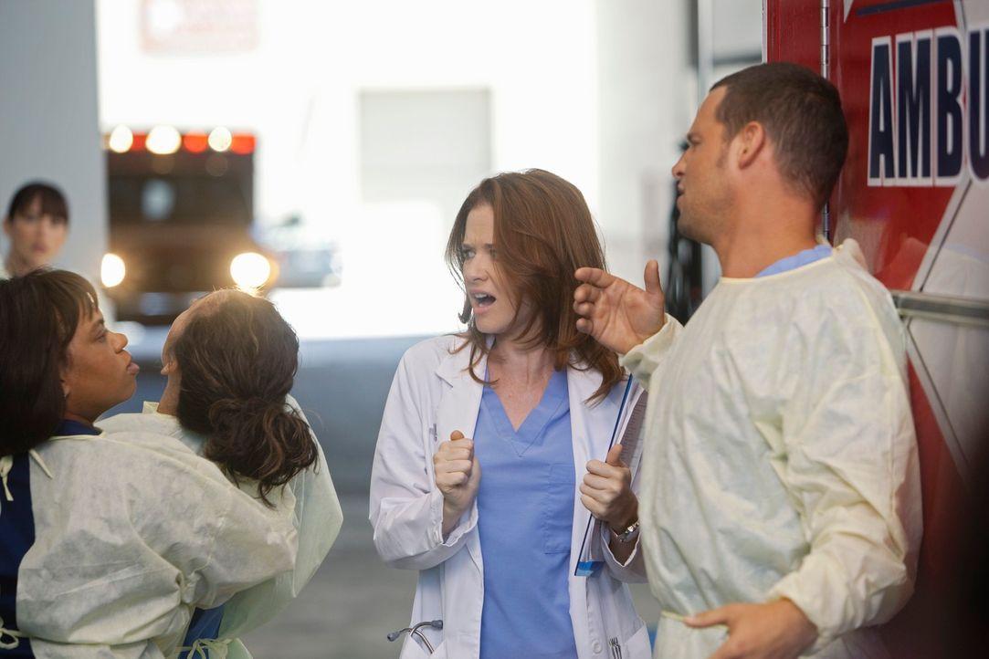 Was ist nur mit Bailey (Chandra Wilson, l.), Cristina (Sandra Oh, 2.v.l.), April (Sarah Drew, 2.v.r.) und Alex (Justin Chambers, r.) los? - Bildquelle: ABC Studios